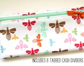 Cash budget envelope system wallet with 6 tabbed dividers for cash organization | multicolor bees laminated cotton