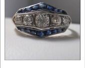 Antique Deco Platinum 1.35 CT. Mine Cut Diamond Sapphire Ring Band