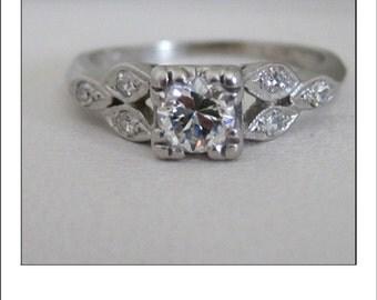 Antique Deco Platinum .45 ct Old European cut Diamond Engagement Ring with gorgeous diamond shoulders