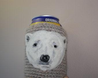 Polar bear can cozy needle felted
