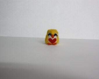 Mini owl yellow heart needle felt figure