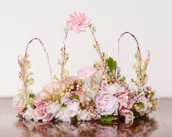 Flower Crown - Pink Wire Crown - Fairy Crown - Flowergirl hairpiece - Summer Wedding - Newborn Photo Prop - Wedding Crown - Floral Hairpiece