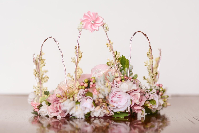 Flower Crown Pink Wire Crown Fairy Crown Flowergirl
