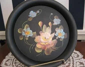 "Two hand painted Tole trays, round and retangular by Phila ""Fine Arts Studio"""