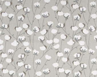 "Two  96"" x 50""  Custom Curtain Panels - Petite Flowers Cotton Belt - Grey"