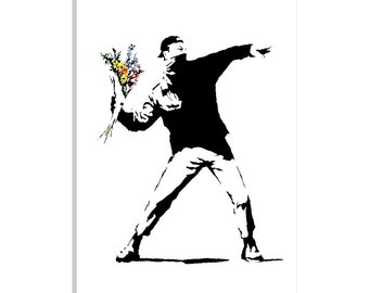"""iCanvas """"Rage, Flower Thrower"""" Gallery Wrapped Canvas Art Print by Banksy"""