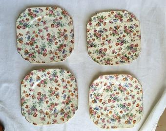 Erphila Cheery Chintz plates square Dorset chintz patterned Imported by Erphila German Germany