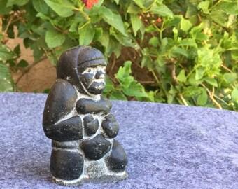 Vintage inuit sculpture carving signed Adamie Koom Canada Eskimo figurine hunter