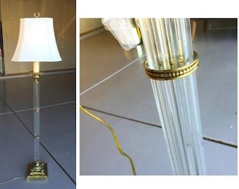 Hollywood Regency lamp glass pole floor lamp Karl Springer style silk shade gilt brass neoclassical base Italian glass column torchiere