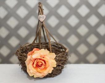Peach Rose Twig round personalized wedding small rustic flower girl basket. Customize with flower and initials