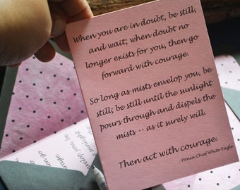 Ponca Chief White Eagle Quote - Encouragement - Single Blank Card - Pink and Black Dots Handmade Paper Lined Gray Envelope