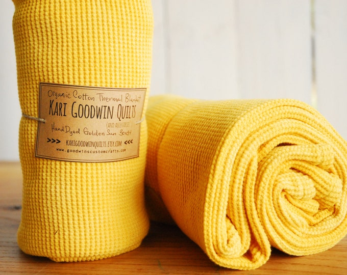 Organic Thermal Cotton Blanket - Light Weight, Hand Dyed, Organic Baby Blanket - Golden Sun Yellow