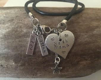 Customized stamped bracelet/ stamped name bracelet/ stamped initial bracelet/ personalized leather cord bracelet/ stamped heart