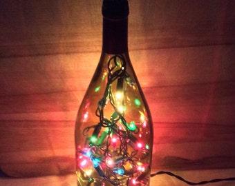 Large wine bottle light/ bottle light with hummingbird wine topper/ accent light/ blown glass hummingbird topper/ upcycled bottles