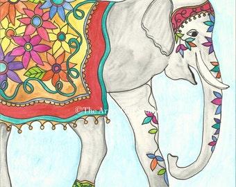 Ellie the elephant - 8x8 Watercolor Art Print