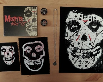 Misfits Friday the 13th CD Patches Necklace Magnet Bundle Package