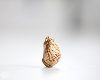 Gold Nugget Pendant no9 - unique gold gilded wooden specimen - MEDIUM -natural occurring juniper wood sculpture - minimalist pendant jewelry