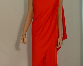 Disco The Night Away - 1970s Rich Orange Stretch Polyester Jersey One Shoulder Jumpsuit - Attached One Shoulder Cape Shawl Grecian Goddess