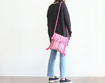 medium - hot pink white woven braided strap tapestry bag