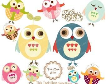 Owl Set 02 high quality SET - (6 inch) Clip Art