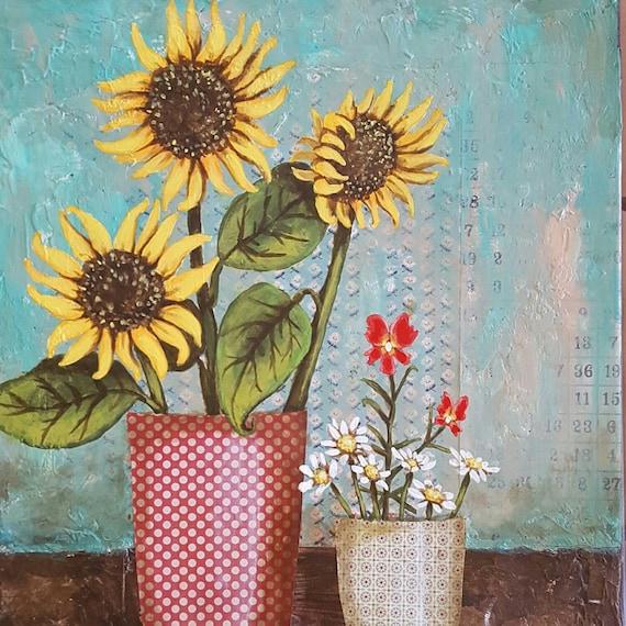 Sunflowers & Monkey Flowers Mixed Media Art Print 11x14