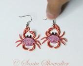Lace Crab Earrings Earrings - Machine Embroidered Crab Earrings Earrings
