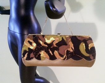 Gorgeous Rockabilly Handbag Vintage Pin Up 1950s 50s 1960s 60s Mad Men Tiki Purse Clutch Bag Chain Handle Abstract Fabric Vegan Leather