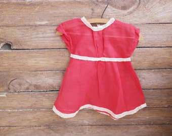 Lovely Vintage Red Cotton DOLL DRESS