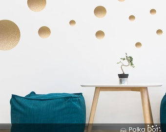 17 Dots   Assorted Size Peel And Stick Metallic Gold Polka Dot Wall Decals  | 2 Part 77