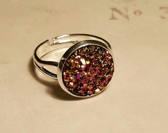 Rose Gold Druzy Ring Adjustable Silver Ring Sparkly Statement Jewellery
