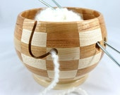 Beautiful New Wood Combination! Wooden Knitting and Yarn Bowl, Segmented, Checker Board Pattern,Hard Maple with Cherry Wood, Lathe Turned