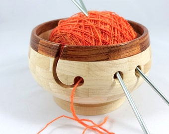 Compact Wooden Knitting and Yarn Bowl, Maple Body with Brazilian Cherry Rim, Lathe Turned