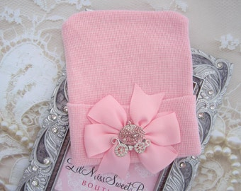 Newborn Hospital Hat, pink with a pink with a silver carriage rhinestone button, baby hat, from Lil Miss Sweet Pea Boutique
