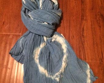 Hemp/Silk Crepe Scarf-  Blue tie dye