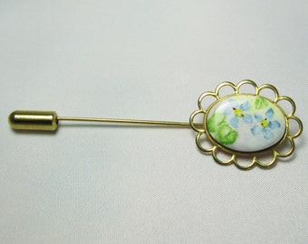Stick Pin - Hat Pin - Floral Stick Pin - Blue Flowers