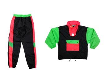 Wild 80s Neon Nylon WOW Splash Suit By Intermission - M / 26 to 30