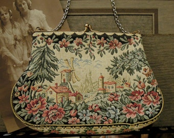 Vintage Tapestry Purse / Petit Point Style / Jolles Original