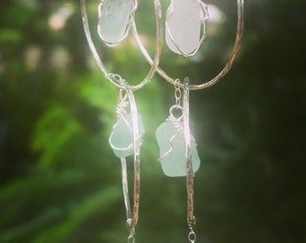 Sterling silver seaglass hoops