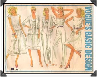 """VOGUE Pattern 2687 - Misses' """"Vogue's Basic Design"""" Coordinates • Eyelet Top, Jacket, Camisole, Drindl Skirt, Pants - Sz 10 B32 - Vtg 1980s"""