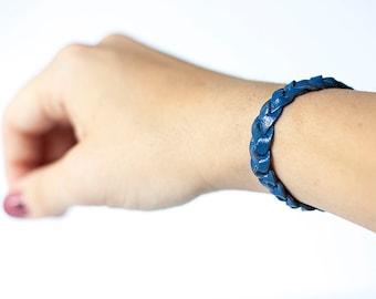 Braided Leather Bracelet / Blueberry Pie