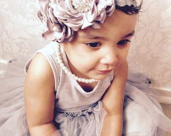 Headband - Baby Girl Gray satin rose  lace Headband - Toddler ,newborn rhinestones  Headband