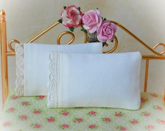 Dollhouse Miniature Set of 2 Assorted Ivory Pillows. 1 of each design - 1:12 scale, One Inch Scale