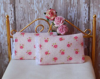 Miniature Pillows, Set of 2 Bed Pillows with tiny pink roses, French lace detail - 1:12 scale