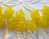 Lemon Beads 14x10mm Top-drilled Pressed Czech Glass Beads 25 pcs Bright Yellow