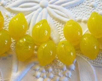 Lemon Beads 14x10mm Top-drilled Pressed Czech Glass Beads 25 pcs Bright Yellow