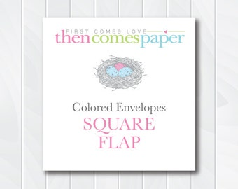 Square Flap A7 Color Envelopes Upgrade, 5x7 Colored Envelopes, Square Flap, Straight Flap Envelopes, fits 5x7 cards and invitations