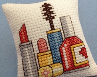 Cross Stitch Makeup Pincushion Pin Cushion Pillow Bowl Filler