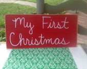Red and White My First Christmas Photo Prop Sign, Christmas Card Sign Props