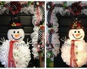 Black & White Christmas Winter Snowman Wreath/Garland Combo