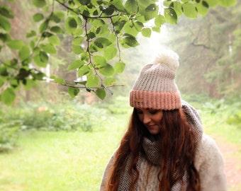 Bobble hat / ALPACA / hand knitted / wool hat / ski hat / winter hat / Bobble hat / Pastel Hat / Pink wool hat / winter accessories / warm